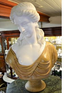Carved marble bust