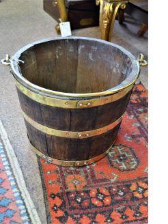 Oak & brass bound bucket