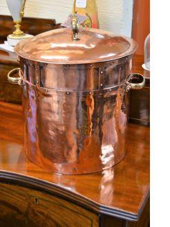 Old copper coal bucket