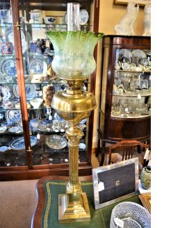 Victorian bass pillar oil lamp