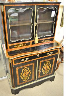 19th century ebony secretaire cabinet