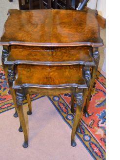 Burr-walnut nest of tables