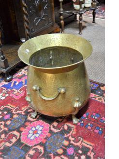 Arts & crafts brass jardiniere