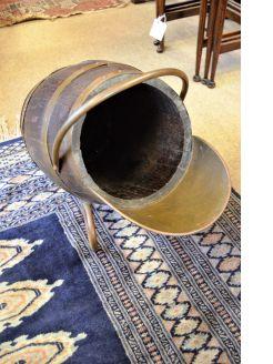 Oak & brass bound coal scuttle
