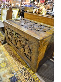 Carved Chinese camphorwood trunk / chest