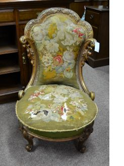 Victorian giltwood low chair