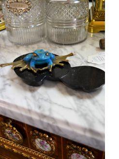 Brass & enamel frog sculpture