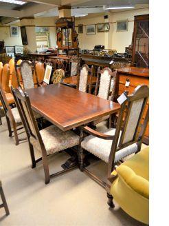 Eight piece oak dining room suite