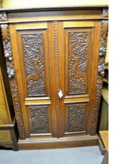 Late 19th century carved oak cabinet