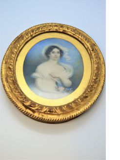 19th century hand painted miniature in gilt frame