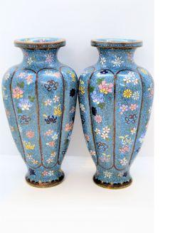 Pair Cloisonn� vases