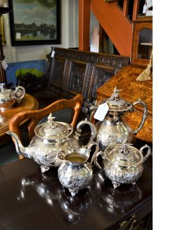 Four piece plated tea set