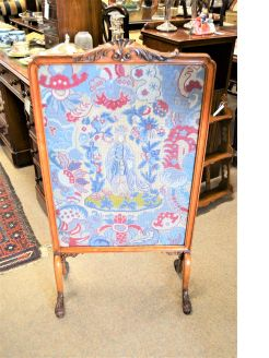 Mahogany framed tapestry fire screen
