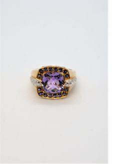 9ct gold diamond & amethyst ring