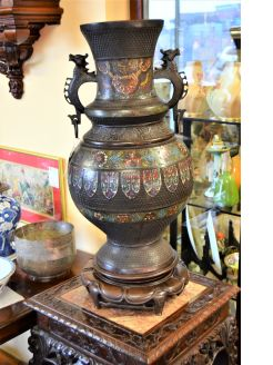 19th century Chinese bronze & cloisonne vase on carved stand