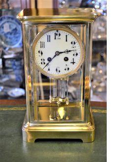 Victorian brass mantle clock