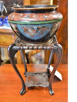Chinese cloisonne bowl & carved stand