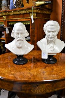 Pair of modern porcelain busts