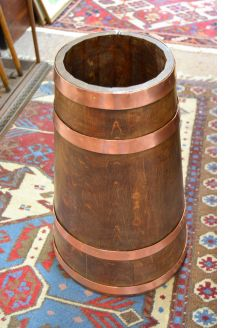 Oak and copper bound stick stand / barrel