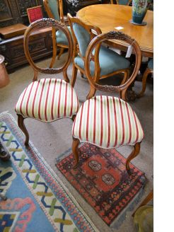 Pair victorian walnut chairs