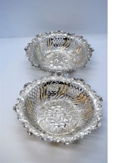 Pair Victorian silver dishes