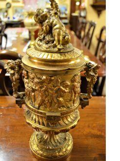 19th century gilt metal Urn