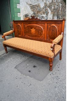 Irish Victorian walnut bench,strahan of dublin