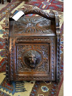 Victorian carved oak coal box