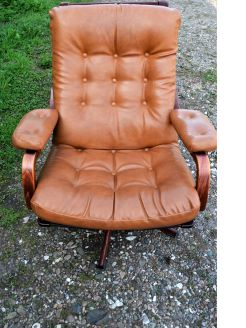 Eames style leather armchair
