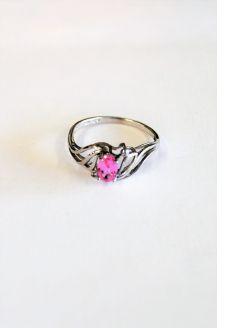 9ct gold & diamond pink sapphire ring