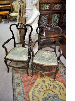 Pair of Edwardian mahogany armchairs