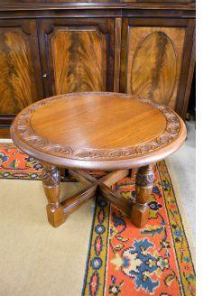 Oak circular low table