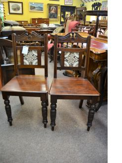 Pair Victorian hall chairs