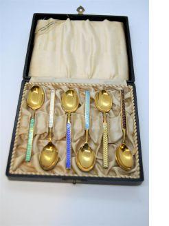 Set of six danish silver enamel coffee spoons