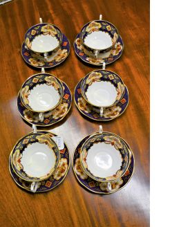 Set of six soup plates & bowls