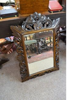 Victorian oak framed carved mirror