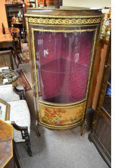 Mahogany glass fronted corner cabinet