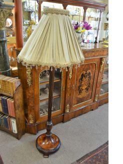 Mahogany standard lamp with shade