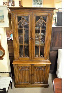 Gothic style oak bookcase