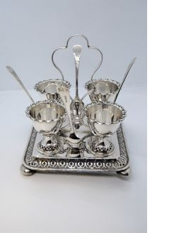 Victorian silver plated eggery