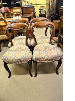 Set four Victorian oak chairs