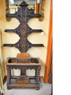 Victorian Carved oak hall stand