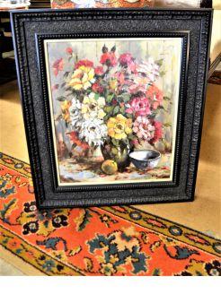Oil on canvas , still life, signed