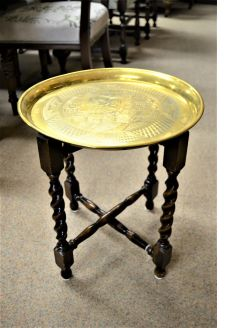 Brass top oak table