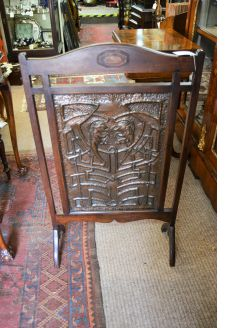 Oak & copper fire screen