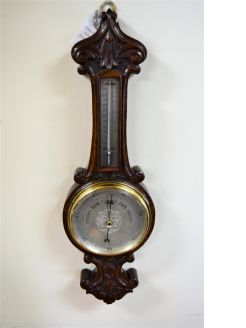 Edwardian walnut barometer