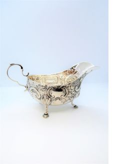 Victorian silver sauce boat
