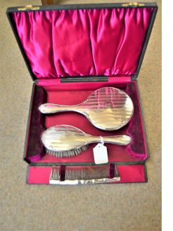 3 piece silver backed dressing set