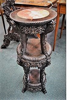 Chinese carved cherrywood stand with marble top