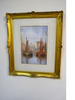 Gilt framed watercolour,signed  A.pioss